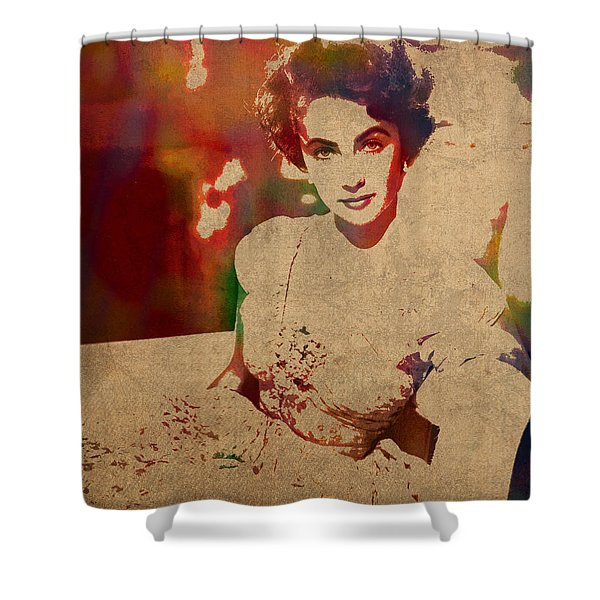 Elizabeth Taylor Watercolor Portrait On Worn Distressed Canvas Shower Curtain