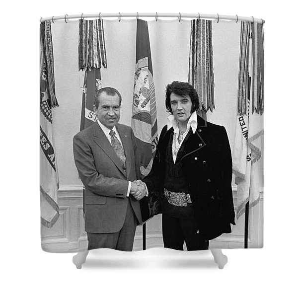 Elvis Presley And Richard Nixon-featured In Men At Work Group Shower Curtain