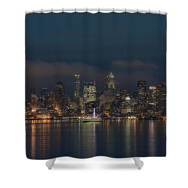 Emerald City At Night Shower Curtain