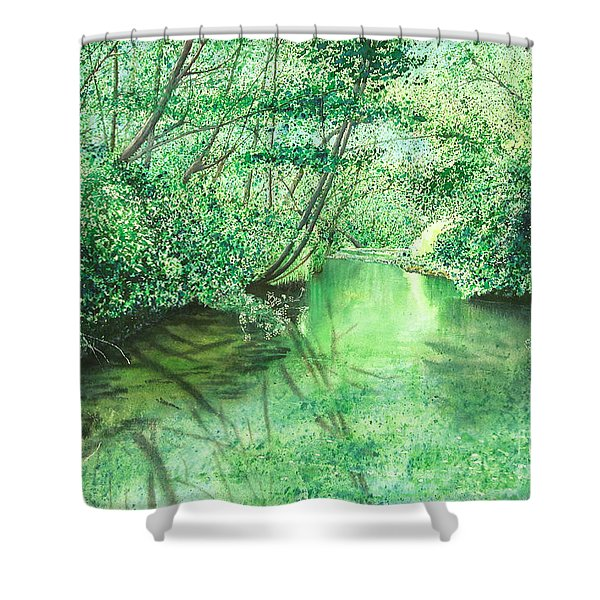 Emerald Stream Shower Curtain