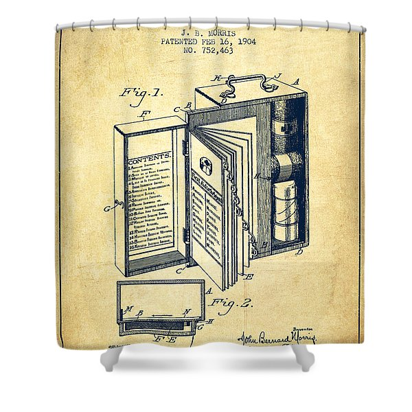 Emergency Case Patent From 1904 - Vintage Shower Curtain
