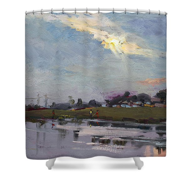 End Of Day By Elmer's Pond Shower Curtain