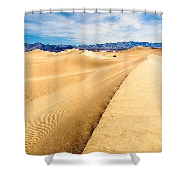Endless Dunes - Panoramic View Of Sand Dunes In Death Valley National Park Shower Curtain