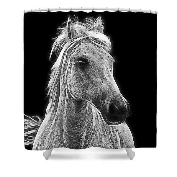 Energetic White Horse Shower Curtain