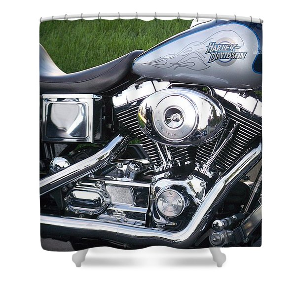 Shower Curtain featuring the photograph Engine Close-up 5 by Anita Burgermeister