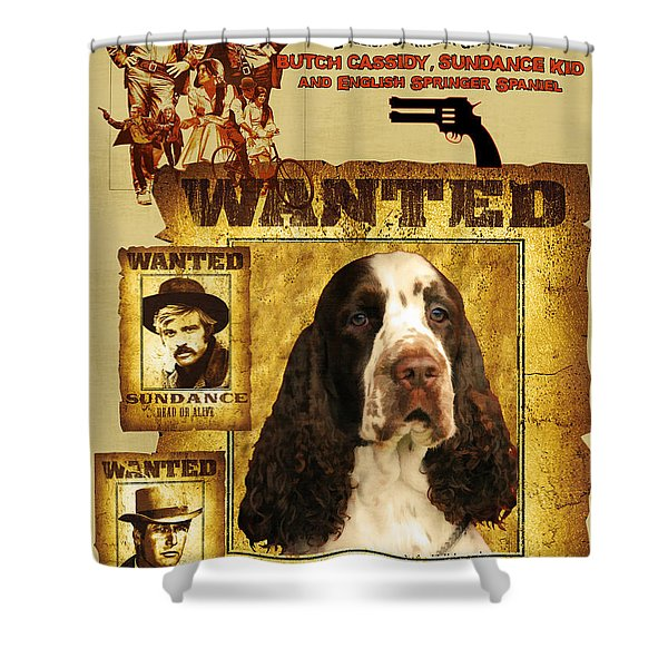 English Springer Spaniel Art Canvas Print - Butch Cassidy And The Sundance Kid Movie Poster Shower Curtain