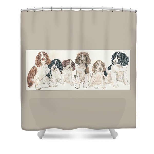 Shower Curtain featuring the mixed media English Springer Spaniel Puppies by Barbara Keith