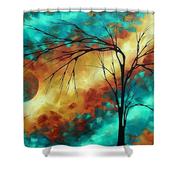 Enormous Abstract Art Brilliant Colors Original Contemporary Painting Reaching For The Moon Madart Shower Curtain