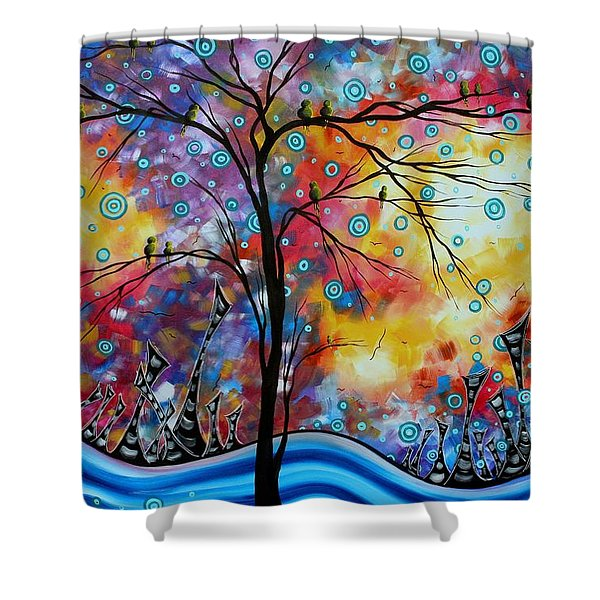 Enormous Whimsical Cityscape Tree Bird Painting Original Landscape Art Worlds Away By Madart Shower Curtain