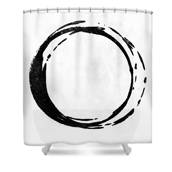 Enso No. 107 Black On White Shower Curtain