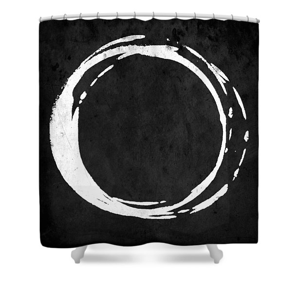 Enso No. 107 White On Black Shower Curtain