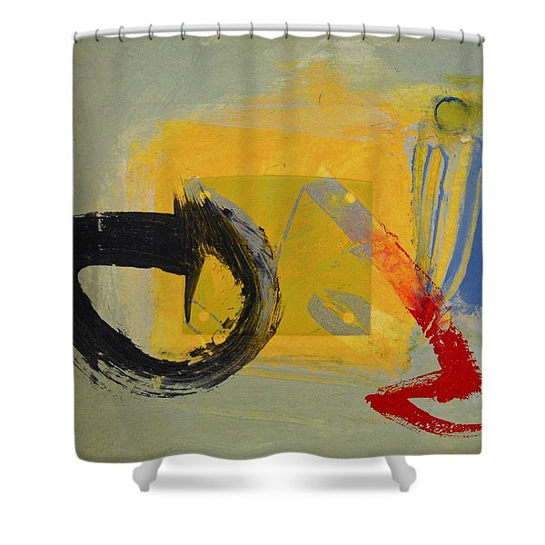 Shower Curtain featuring the painting Enso Sun Block by Cliff Spohn