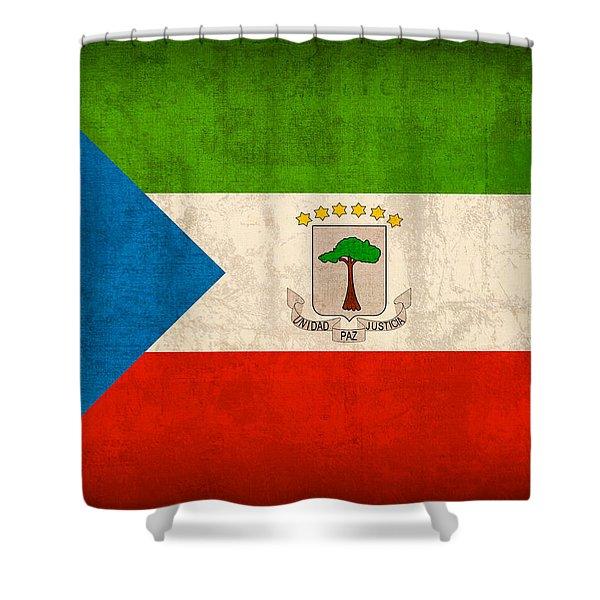 Equatorial Guinea Flag Vintage Distressed Finish Shower Curtain
