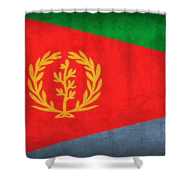 Eritrea Flag Vintage Distressed Finish Shower Curtain