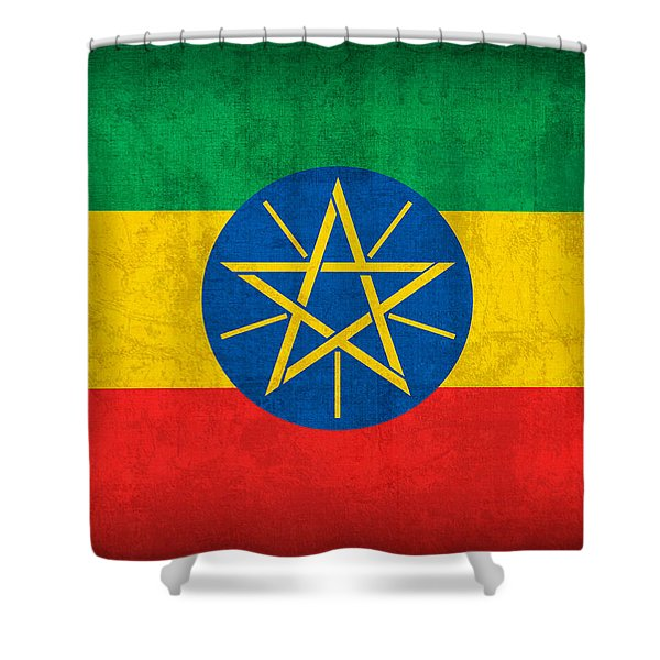 Ethiopia Flag Vintage Distressed Finish Shower Curtain