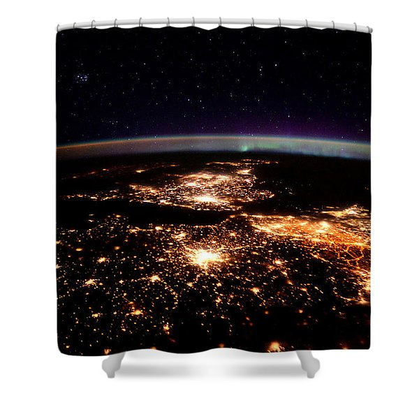 Europe At Night, Satellite View Shower Curtain