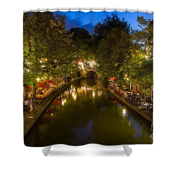 Shower Curtain featuring the photograph Evening Canal Dinner by John Wadleigh