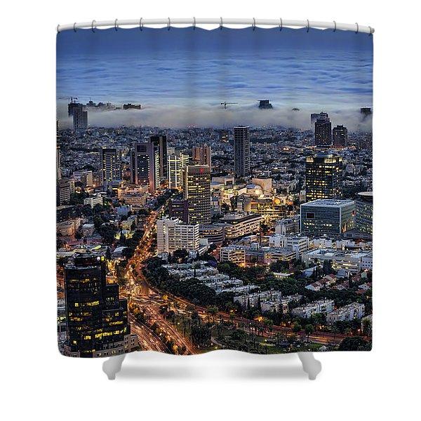 Evening City Lights Shower Curtain