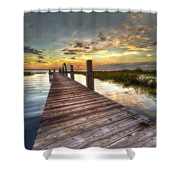 Evening Dock Shower Curtain