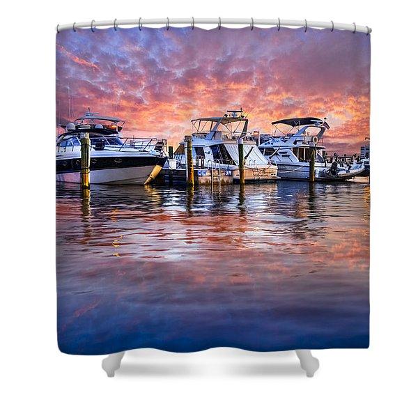 Evening Harbor Shower Curtain