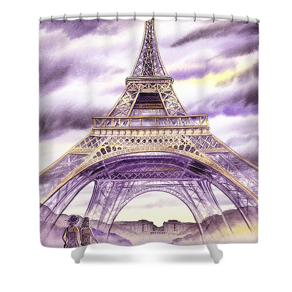 Evening In Paris A Walk To The Eiffel Tower Shower Curtain
