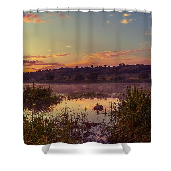 Evening On The Quiet River Shower Curtain