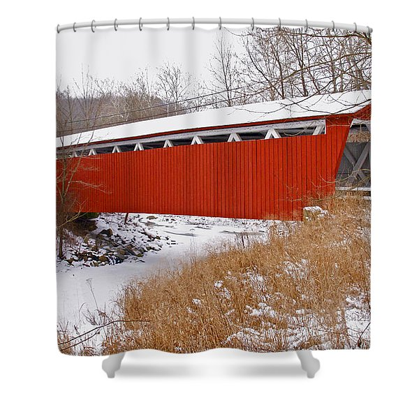 Everett Rd. Covered Bridge In Winter Shower Curtain