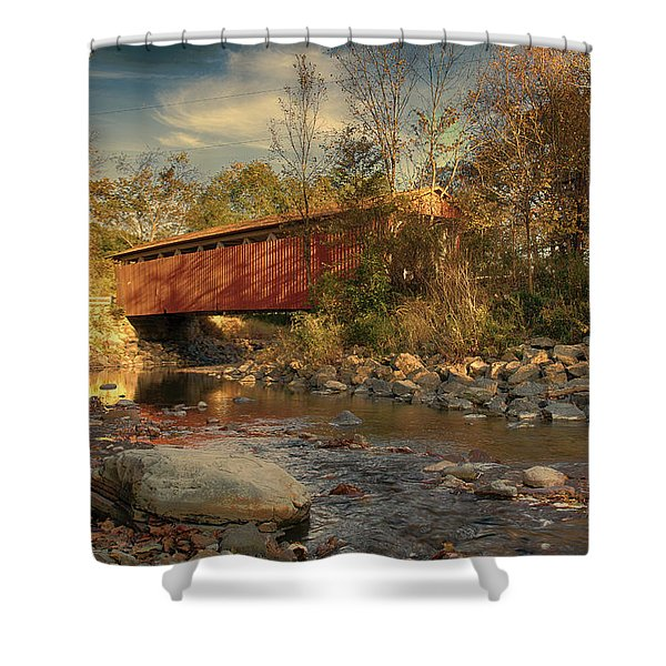 Everett Rd Summit County Ohio Covered Bridge Fall Shower Curtain