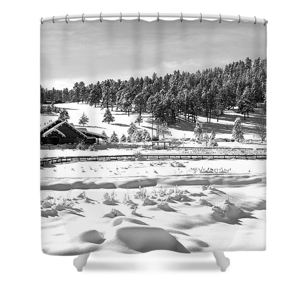 Evergreen Lake House In Winter Shower Curtain
