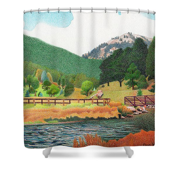 Evergreen Lake Spring Shower Curtain