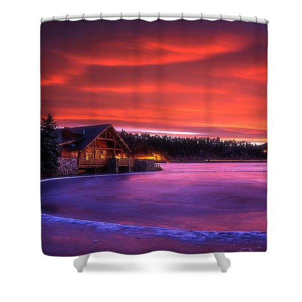 Evergreen Lake Sunrise Shower Curtain