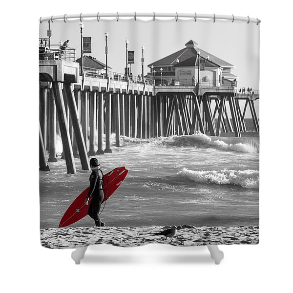 Existential Surfing At Huntington Beach Selective Color Shower Curtain