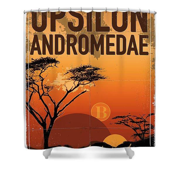 Exoplanet 06 Travel Poster Upsilon Andromedae 4 Shower Curtain