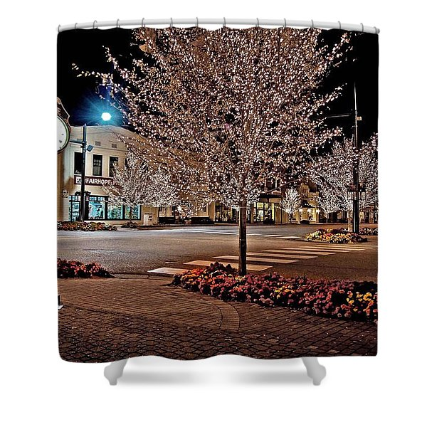 Fairhope Ave With Clock Night Image Shower Curtain