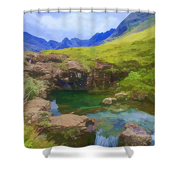 Fairy Pools Of Skye Watercolour Shower Curtain