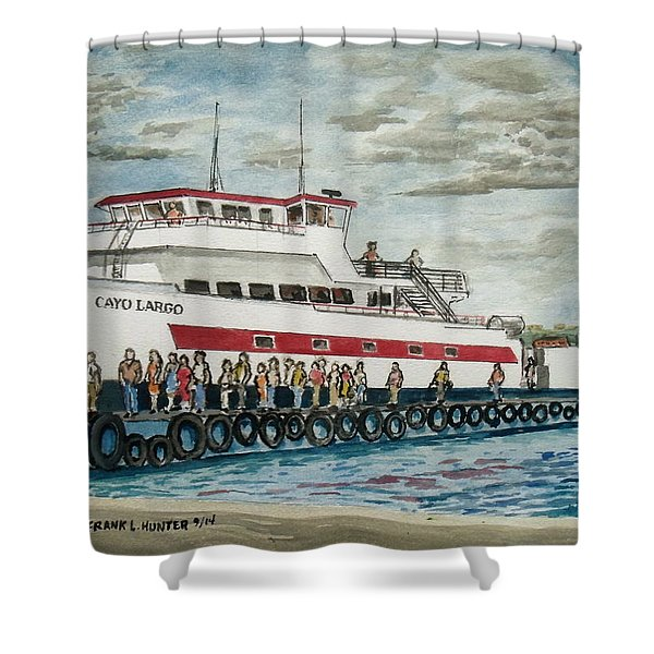 Fajardo Ferry From Vieques Puerto Rico Shower Curtain