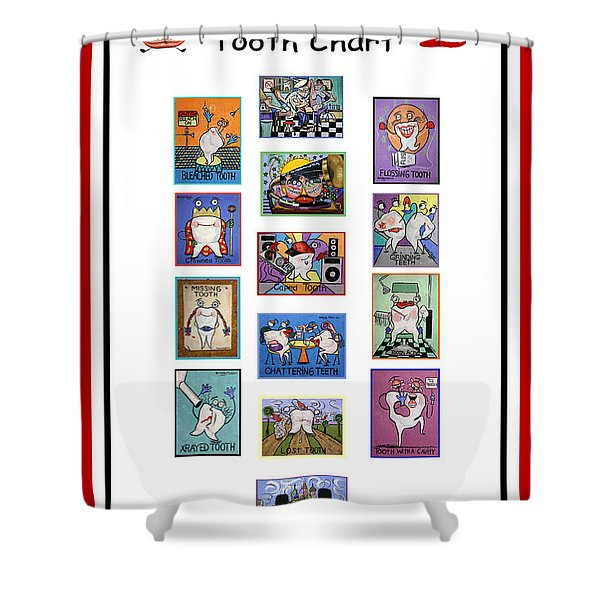 Shower Curtain featuring the painting Falboart Tooth Chart Number 2 by Anthony Falbo