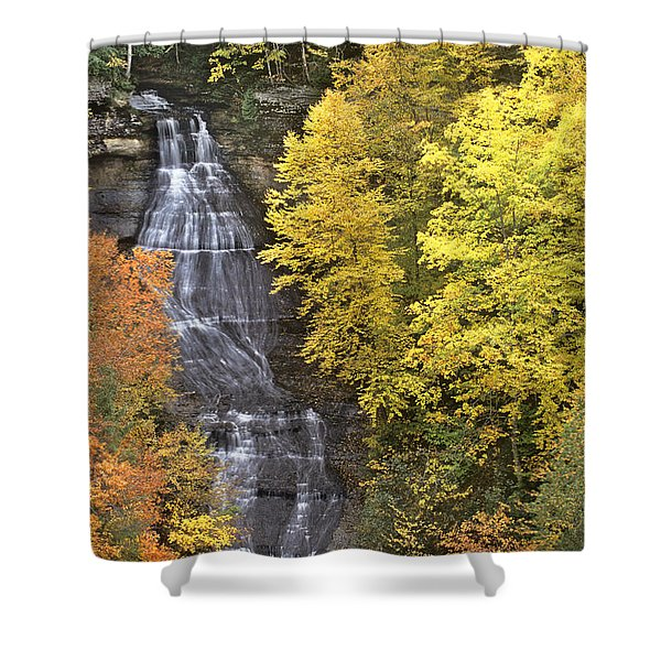 Fall Color Surrounds Chapel Falls On The Michigan Upper Peninsula Shower Curtain
