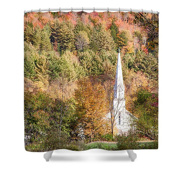 Fall Colors Over Vermont Church Shower Curtain