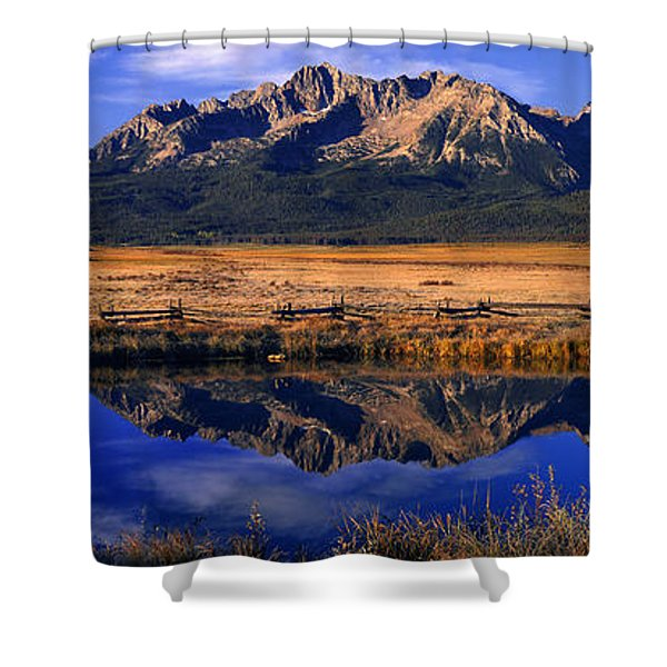 Fall Reflections Sawtooth Mountains Idaho Shower Curtain