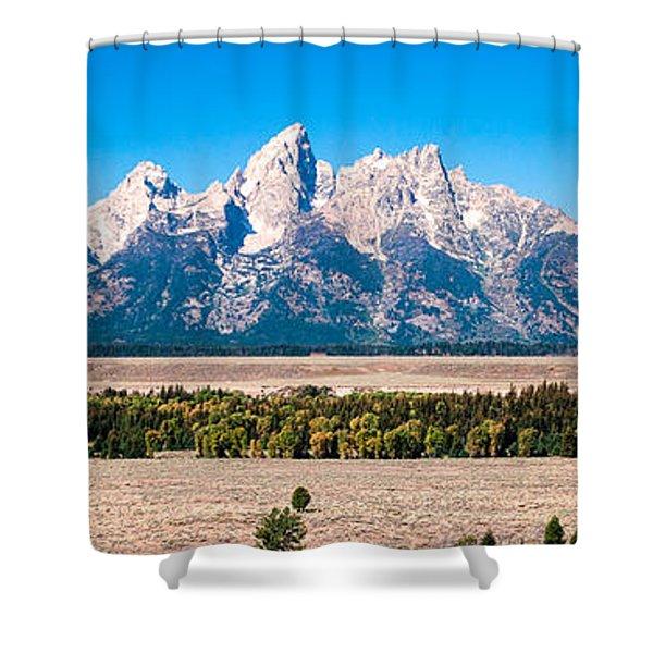 Fall Tetons Panorama   Shower Curtain