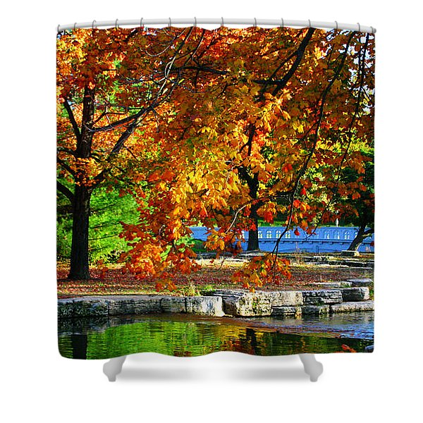 Fall Trees Landscape Stream Shower Curtain