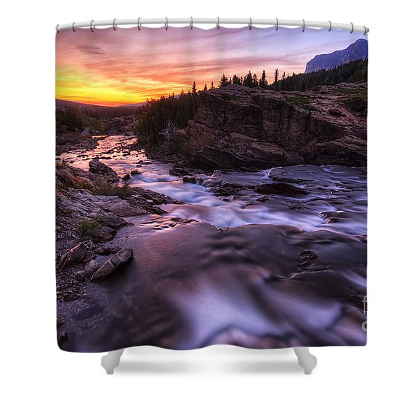 Falls At First Light Shower Curtain
