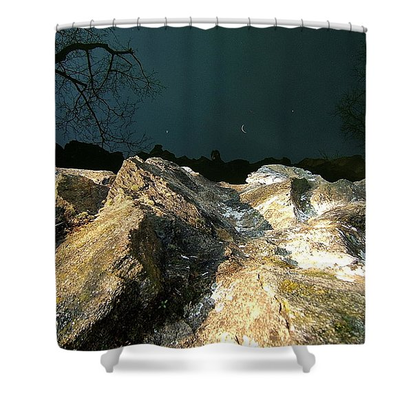 False Earth False Moon Shower Curtain