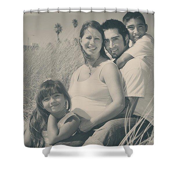 Family Beach Day Shower Curtain