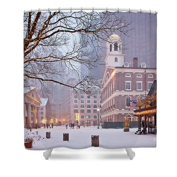 Faneuil Hall In Snow Shower Curtain
