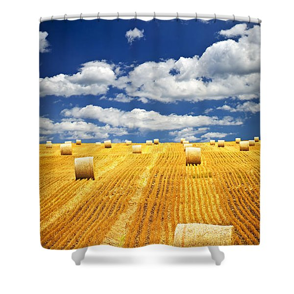 Farm Field With Hay Bales In Saskatchewan Shower Curtain