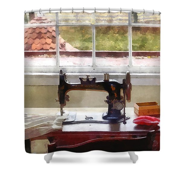 Farm House With Sewing Machine Shower Curtain