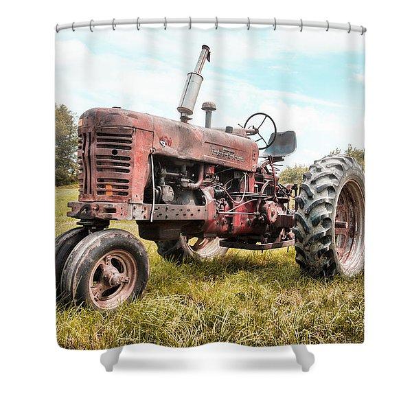 Farmall Tractor Dream - Farm Machinary - Industrial Decor Shower Curtain