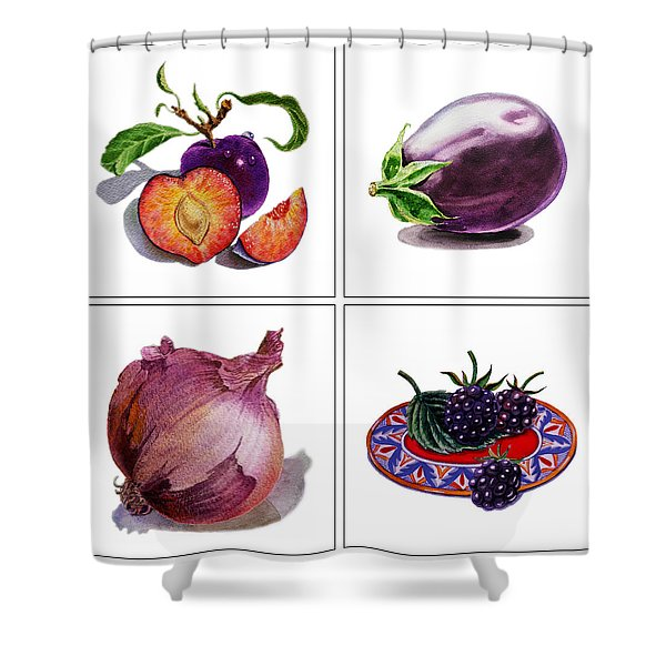 Farmers Market Gifts  Purple Vitamins Shower Curtain